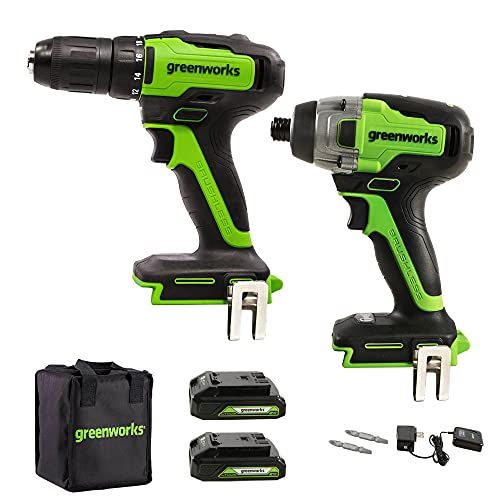 Greenworks 24V Brushless 310 in./lbs Drill / Driver + 1900 in./lbs Impact Driver Combo Kit, (2) USB (Power Bank) Batteries and Charger Included LED Light, 2pcs Driving Bits with Tool Bag