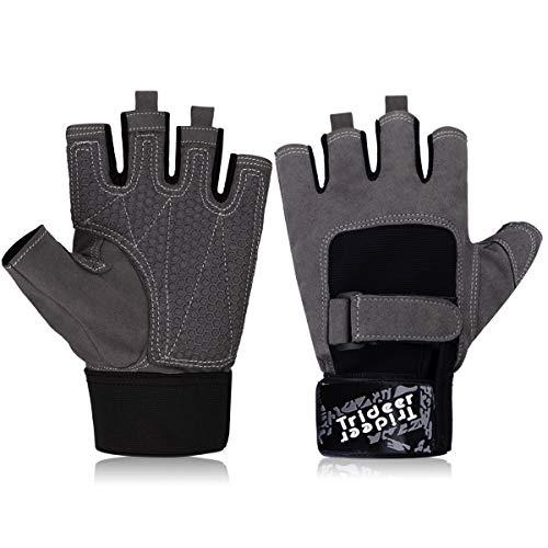 Trideer Ultraleicht Fitness Handschuhe Trainingshandschuhe mit Adjustable Handgelenkstütze und Safe Geleinlage Silikon Palm für Krafttraining Gewichtheben und Bodybuilding Damen Herren