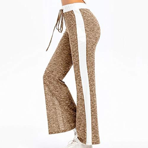 Zarupeng Dames dunne vrijetijdsbroek leggings elastische band losse brede been broek patchwork lange joggingbroek sweatpants