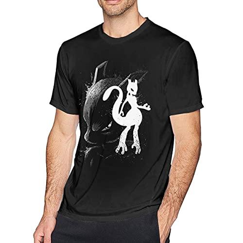 XCNGG Camiseta de Manga Corta con Estilo Mew Mewtwo Ink Style para Hombre de Anime