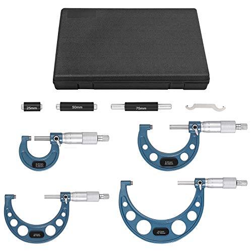Proster Metrisch Externes Mikrometer Set 4PCS Micrometer 0-100mm Messbereich 0-25mm, 25-50mm, 50-75mm, 75-100mm Bügelmessschraube 0,01 mm Auflösung Mikrometersatz mit Koffer