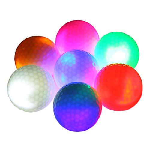 Yokawe Bolas de golf incandescentes, 12 unidades LED que brillan en la oscuridad, pelotas de golf intermitentes, de larga duración, deportes nocturnos, 7 colores