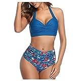 dkjawjcn Conjunto Bikini Dividido para Mujer Push up,Sexy Trajes De Baño Bañador con Tirantes Finos y Cintura Alta,con Relleno Tops y Braguitas brasileños vikinis