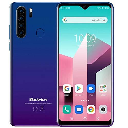 Blackview A80 Plus20214G Smartphone Offerte, 6,49'' HD+, Helio P25 4GB + 64GB, Quattro Fotocamera Posteriori, Batteria 4680mAh, Spessore 8,8 mm, Telefono Cellulare Android 10 DUAL SIM, NFC Blu