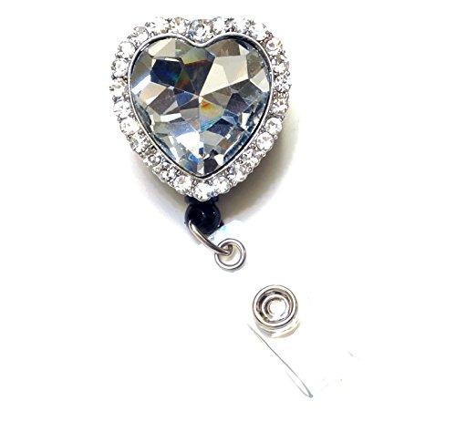 WigsPedia Bling Rhinestone Retractable Badge Reel/ID Badge Holder/Brooch/Pendant/Reels (Diamond Heart) Photo #3
