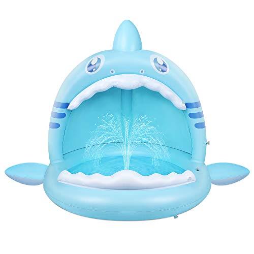Piscina Hinchable para Bebés,Piscina para Infantil Kiddie de Tiburón con Toldo y Pulverizador, Centro Juegos Hinchable Portátil para Niños de Vacaciones en la Playa al Aire Libre Interior y Exterio