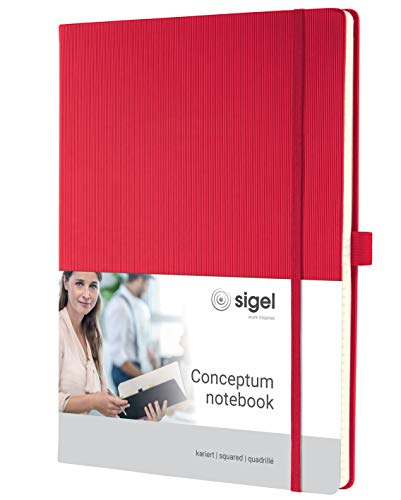SIGEL CO644 Notizbuch, ca. A4, kariert, Hardcover, rot, 194 Seiten, Conceptum - weitere Modelle