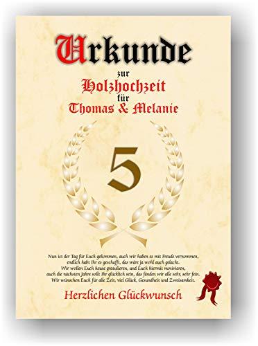 Urkunde zum 5. Hochzeitstag - Holzhochzeit - Geschenkurkunde Holz Hochzeit personalisiertes Geschenk Karte mit Namen DIN A4