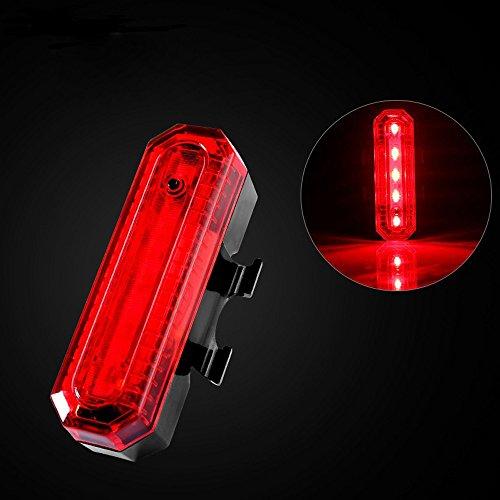 TriLance 5 LED Fahrrad Rücklicht - Intelligente USB Wiederaufladbare led rücklicht Fahrrad, IPX6 wasserdichte fahrradlampe, Nacht Warnung Rücklicht (B)