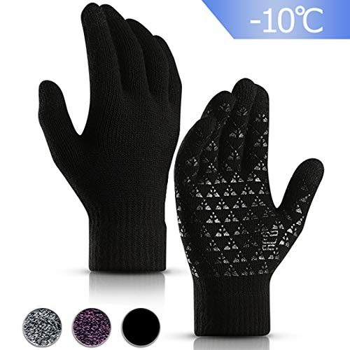 Winter Handschuh Herren Damen Touchscreen - Fäustlinge Damen Fahrradhandschuhe Warme Rutschfest Strickhandschuhe - Elastische Manschette, Schwarz, M