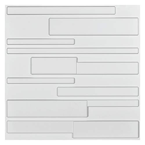 Art3d White Wall Panels Brick Design 3D Wall Panels , White, 12 Tiles 32 Sq Ft