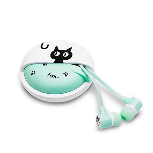 Estéreo QearFun de 3,5 mm en el oído Auriculares Cat Auriculares con micrófono con estuche de almacenamiento para iPhone Samsung MP3 iPod PC Música