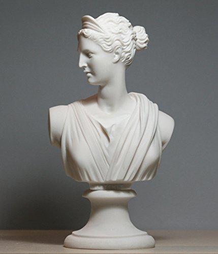 Escultura de alabastro griego busto de Artemis Diana Goddess Art Estatua de Alabastro, 15 cm