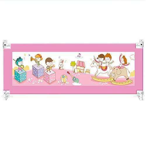 Barandillas Barandilla de la Cama Barra de barandilla Cerca de la Cama Levantamiento Vertical Guardia de la Cama for niños, niños pequeños, barandas for bebés con botón de Bloqueo Doble (Rosa, altur