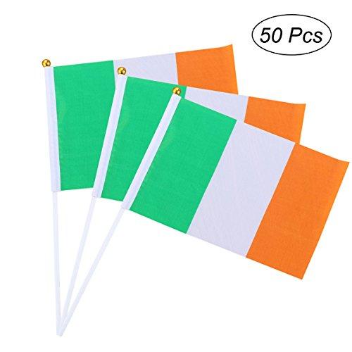 BESTOYARD Irische Tricolor Irland-Flaggen 50Pcs Hand, die Flaggen für St Patrick TagesPartei & Parade-Dekoration kreisen