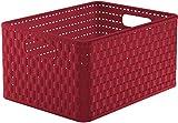 Rotho Country, Caja de almacenamiento de 18l en aspecto de ratán, Plástico PP sin BPA, rojo, A4, 18l 36.8 x 27.8 x 19.1 cm