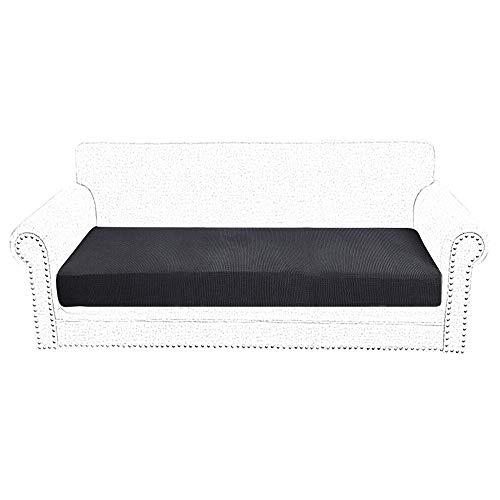 SurfMall Funda de Asiento Sofá Elástico 1/2/3 Asientos Cojín de sofá Impermeable Salpicaduras (Negro, Dos plazas)