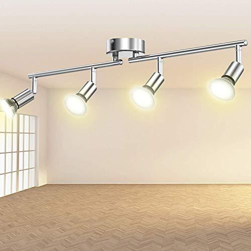 Lampadario da Soffitto Moderna Faretti LED da Soffitto Orientabile Ketom Lampada da Soffitto 4 Luci GU10 Bianco Caldo 2800K 550LM RA82 6W Pari a 54W, Plafoniera LED per Camera Salotto Cucina