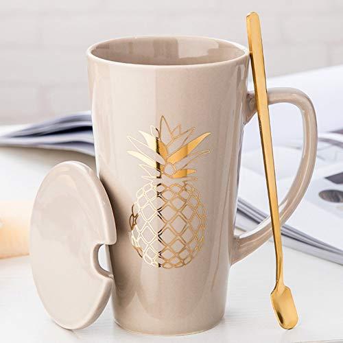 Sayopin Große Teetassen 500ml, Elegante Kaffeetasse mit Deckel und Löffel, Keramik Kaffee Tee Tasse für Freunden und Familien Als Überraschungsgeschenk