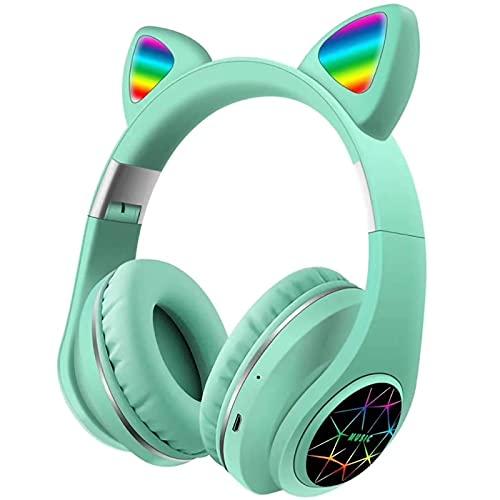 HBOY Auriculares Bluetooth LED Luminosos con Oreja De Gato, Auriculares con Micrófono para Niños, Auriculares Inalámbricos Bluetooth 5.0 para Teléfonos Inteligentes/TV,Verde