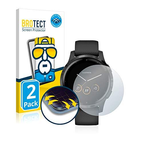BROTECT Full-Cover Schutzfolie kompatibel mit Garmin vivoactive 4s (40 mm) (2 Stück) - Full-Screen Bildschirmschutz-Folie, 3D Curved, Kristall-Klar