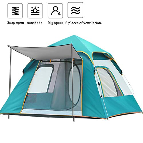 Family Camping Tents 3-4 Person Camping Tent, Waterproof Folding Double Door Pop-Up Tents with Carrying Bag, Easy to Assemble Tunnel Tents for...