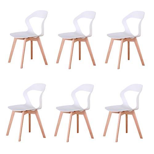 N/A juego de 6 modernas sillas de plástico de estilo nórdi