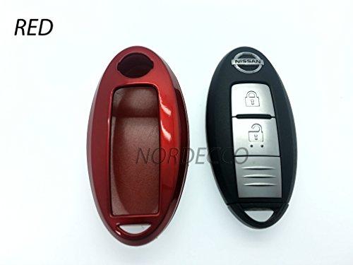 Protex Coque rigide brillante pour clé 2 ou 3 boutons (clé non fournie) pour Nissan Qashqai Juke Alitima Nismo Rouge
