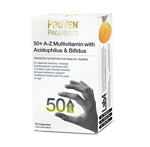 ProVen Probiotic 50+ A-Z Multivitamin with Acidophilus & Bifidus – Complete Multivitamin & Mineral with Friendly Bacteria support for the Elderly
