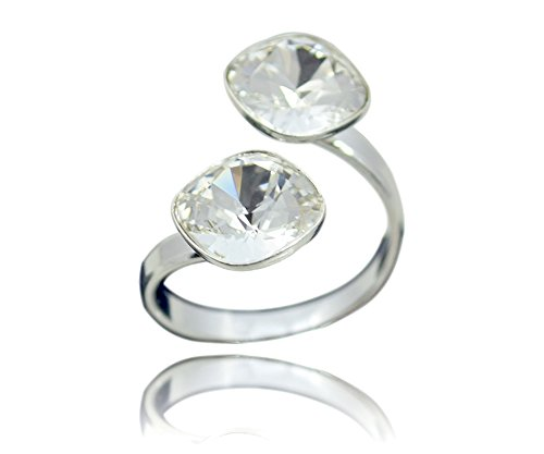 Crystals & Stones Swarovski *DOPPELT SQUARE* *VIELE FARBEN* 925 Silber Ring Swarovski Elements - 925 Sterling Silber Damen Ring Größe Verstellbar (Crystal)