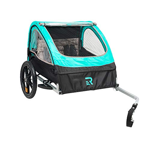 """Retrospec Rover Kids Bicycle Trailer Single and Double Passenger Children's Foldable Tow Behind Bike Trailer with 16"""" Wheels, CPSC Approved Safety reflectors, and Rear Storage Compartment"""