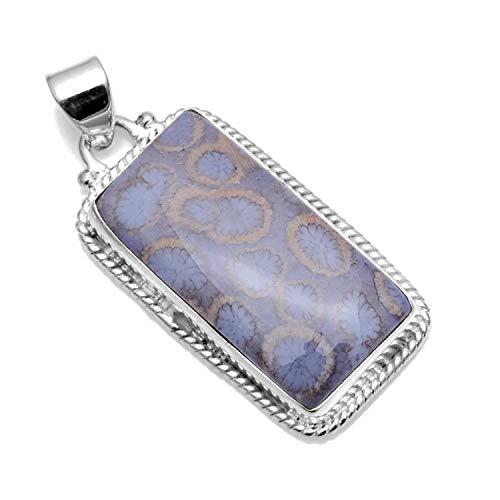 Silver Palace Colgantes de Coral de fósil Natural de Plata esterlina 925 para Mujeres y niñas