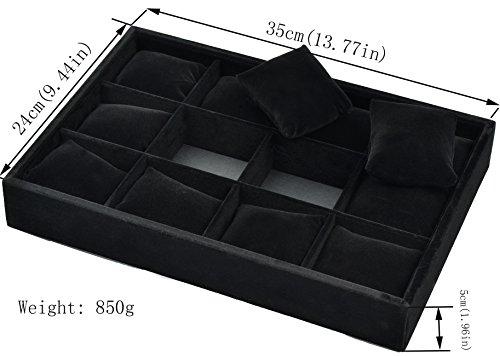 Ginasy 12 Slot Bracelet Watch Platters Black Velvet Display Jewelry Case Organizer Trays