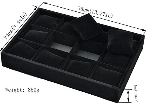 Ginasy 12 Slot Bracelet Watch Platters Black Velvet Display Jewelry Case Organizer Trays