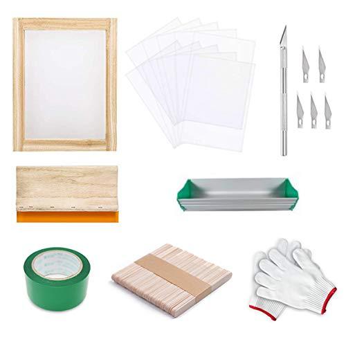 Runaup - Kit de impresión de serigrafía de seda, incluye marco de impresión de serigrafía con 110 malla blanca, raspadores de serigrafía, cinta de película de transparencia