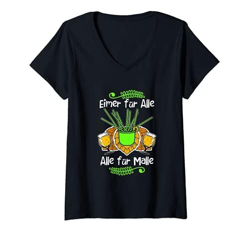 Mujer Mallorca - Disfraz de fiesta con frases divertidas, cerveza Malle Saufen Camiseta Cuello V