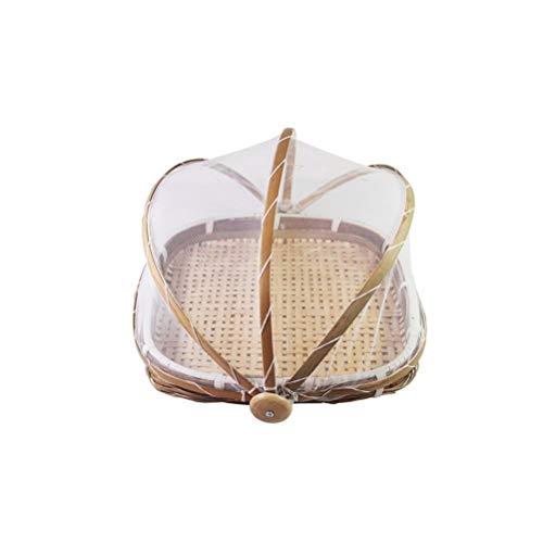 Yousiju Cesta de Almacenamiento Hecha a Mano Bandeja de Almacenamiento Tejida de ratán Fruta de bambú Comida Picnic Contenedor de Pan Decorar el hogar Organizador de Cocina (Size : 28x21cm)