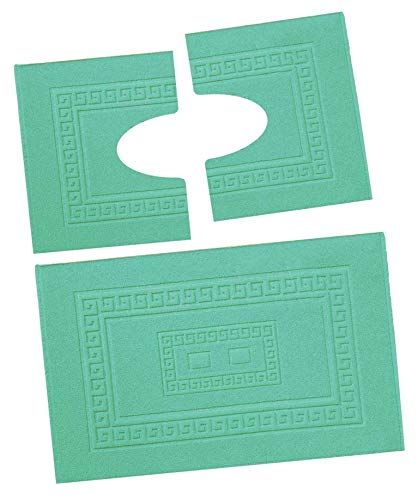 CASA TESSILE Torino Set 3 tappeti Bagno in Spugna, 1 cm 60X90 + 2 Girowater cm 60x45 - Verde Acqua