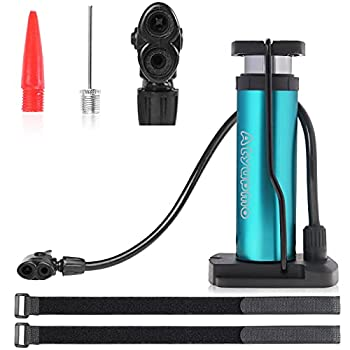 Bike Pump Atyupmo Mini Bicycle Pump Portable Bike Floor Pump Bike Tire Pump Hand Foot Activated Bike Pump with Presta and Schrader Valves Extra Valve and Gas Needle for All Bike Free Pump Straps