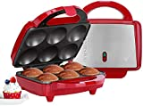 Holstein Housewares Full Size Fun Cupcake Maker, Makes 6, Red/Stainless Steel