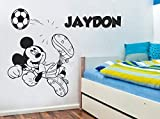 Mickey Mouse Play Soccer Wall Sticker Personalized Custom Name Wallpaper Soccer Wall Art Child Boy Bedroom Wallpaper 42 X 34Cm