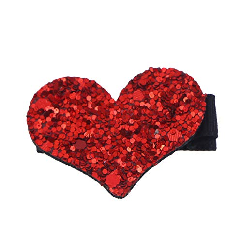 Glitter Heart Hair Clip Duckbill Alligator Clip Pin Bangs Clip Full Covered Sequin Hairpin Hair Accessories for Women and Girls (Red)