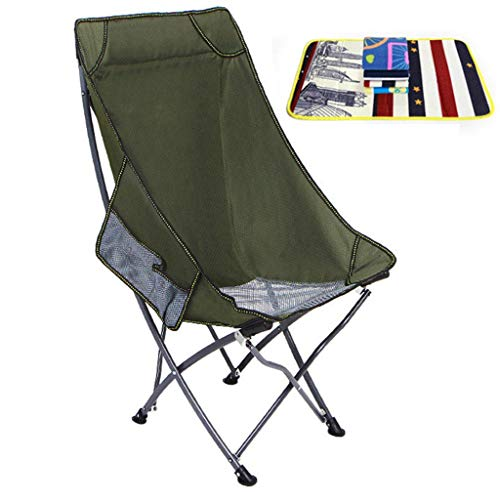 Draagbare hoge rug campingstoel met opbergtas & draagtas, gevoerde kussen, zware rugzak stoel ondersteuning 220 lbs, Outdoor strand, reizen, picknick