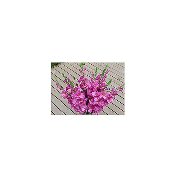 LOVIVER 1x Decoración para El Hogar Artificial Gladiolos Simulación De La Boda Tallo De La Flor Púrpura