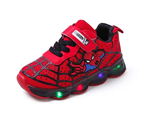 Light LED Kids Shoes Luminous Sneakers Trainers Boys Girls Babies New Spiderman (9,Red)