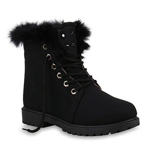 Damen Schuhe Stiefeletten OutdoorWorker Boots Gefütterte Stiefel 153825 Schwarz Black Avelar 39...