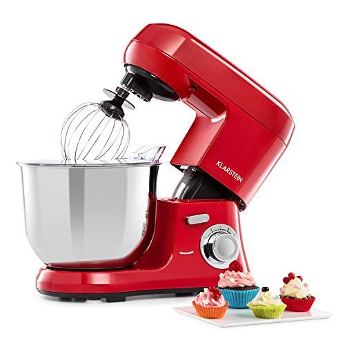 KLARSTEIN Bella Robusta Metal - Robot da Cucina, Alloggiamento Pressofuso, Ciotola in Acciaio Inox 5,5 L, Funzione a Impulsi, 1.200 Watt, 6 Potenze, Gancio per Impastare, Frusta, Paraspruzzi, Rosso
