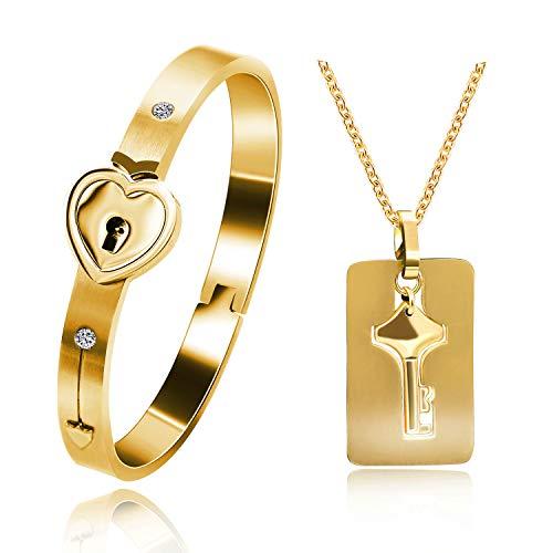 Uloveido chapado en oro rosa Titanio rompecabezas a juego Pareja corazón pulsera y collar colgante clave para hombres y mujeres, collar pulsera a juego Conjunto de joyas para novios SN300 (gold)