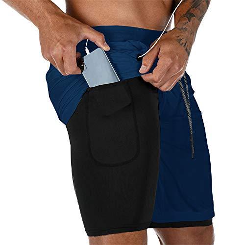 Gafeng 2-in-1-Shorts für Herren, für Workout, Fitnessstudio, Yoga, Training, Sport, weiche Kompressionshose mit Handy-Tasche - Blau - X-Groß