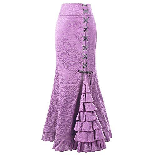 FELZ Faldas Largas Fiesta Mujer Retro Falda De Sirena De Mujer Vestido Ajustado Largo Vintage Falda De Cola De Pez con Volantes, Estilo Punk, M-XXXL, 7 Colores, (Rosa Caliente, XXL)